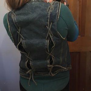 Free People back tie denim vest small